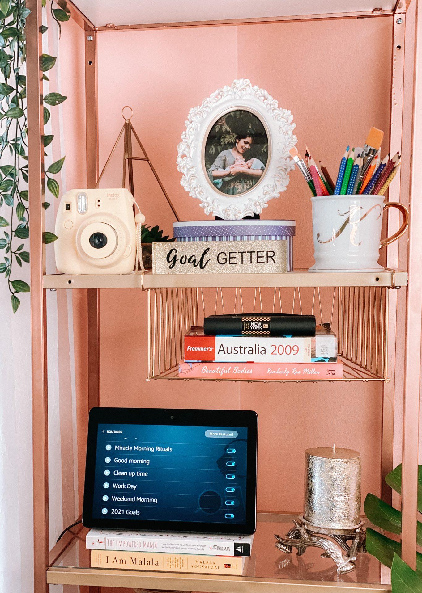 Amazon-Devices-Best-Alexa-Features-Skills-Blueprints-Smart-home-echo-show-office-decor-bookshelf